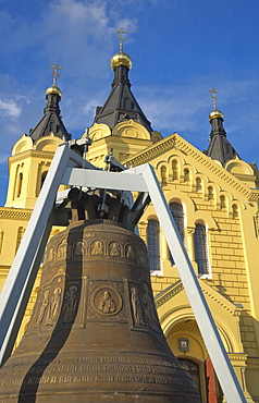 Old giant bell in front of the Alexander Nevsky Cathedral in Nizhny Novgorod on the Volga River, Russia, Europe