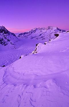 Swiss alps, mountains, wannenhorn, wannenhoerner, aletsch glacier, switzerland, wallis, view from the bettmerhorn, dusk