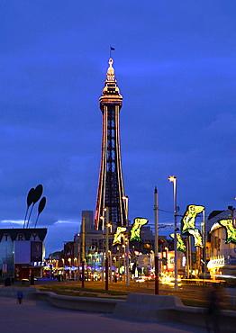 Blackpool illuminations with the tower and street mermaid decorations, Blackpool, Lancashire, England, United Kingdom, Europe