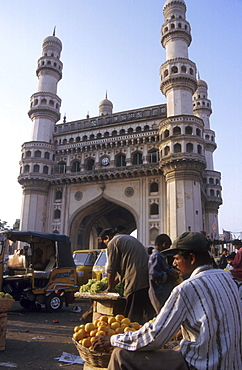 India - fruit sellers in front of the charminar monument, hyderabad
