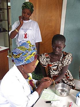 Gambia taking blood for hiv birkana