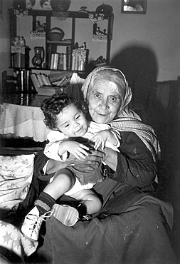 Family grandmother and child. Muslim country