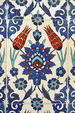 TURKEY Mosque of Rustem Pasha, Istanbul. Detail of Iznik tile