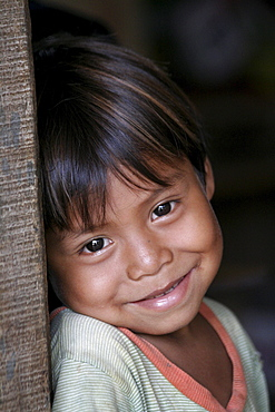 Guatemala santa rita village of returnees, in peten. community fled guatemala during violence of 1980s in times of peace have returned to settle in jungle lowlands. Child from village