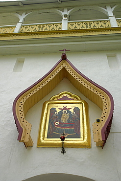 Russia outdoor icons over gateway, pechersky caves monastery, pskov district, founded on august 28th 1473 by saint jonah sheshnik