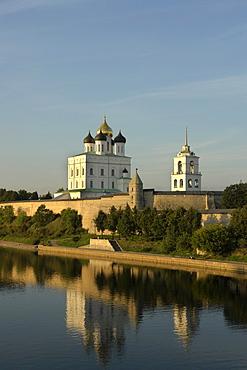 Russia kremlin at pskov, viewed across river velikaya