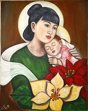 Myanmar madonna child, burmese style, by sister star, at mandalay catholic cathedral