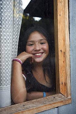 Chile. Mapuche indian girl, chol chol, near temuco