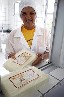 Brazil valda mendes, a member of a milk cooperative, making cows cheese in dairy, lage de carrapicho village, pernambuco