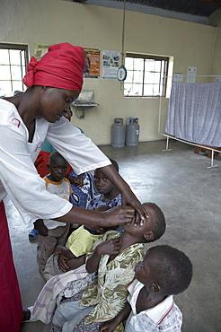 Tanzania immunising children at kowak hospital