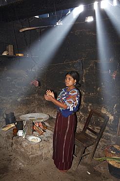 Guatemala woman making tortillas, chajul, el quiche