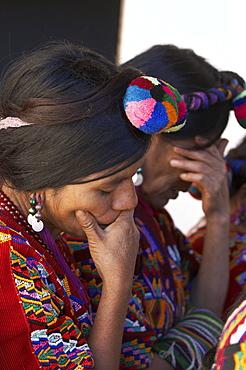 Guatemala catholic church meeting. women praying, chajul, el quiche