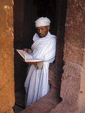 Religion, ethiopia. Priest at beta meskal church, lalibela