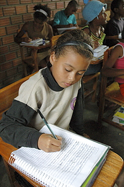 Education, brazil. Primary school of castainho quilombo, pernambuco. Quilombos were set up by escaped african slaves hundreds of years ago