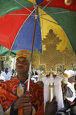 Ethiopia deacons holding crosses during feast of mary, axum