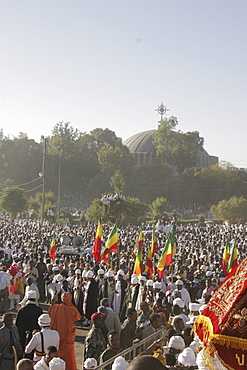 Ethiopia the maryam feast, feast of mary, at axum. The view from the steps of the great stela towards the church of saint mary zion