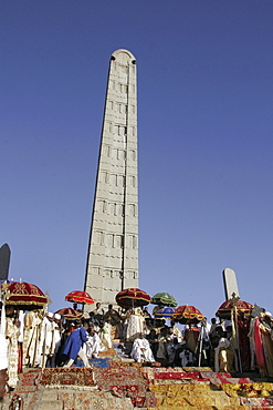 Ethiopia the maryam feast, feast of mary, at axum. The patriarch and archbishops assembled beneath the stela of king ezana