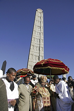 Ethiopia the maryam feast, feast of mary, at axum. His holiness abuna paulos walking down from the steps to the great stela