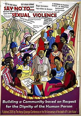 Kenya anti sexual violence poster. Kibera slum, nairobi