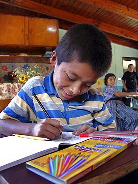 Guatemala schoolboy. Catholic mission elementary school at san lucas toliman