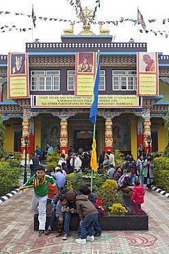 His holiness the 17th gyalwang karmapa banners at tergar monastery in maha bodhi temple. Kalachakra initiation in bodhgaya, india