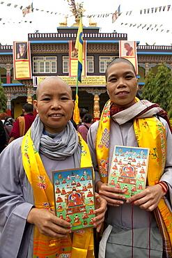 Buddhist nuns in front of tergar monastery in maha bodhi temple. Kalachakra initiation in bodhgaya, india
