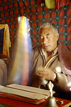 In month of november before full moon a sacred ceremony is held in various monasteries throughout himalayas by traditional healers known as amchis. They call down spiritual deities to bless medicine. Amchis performing puja at potenization ceremony. Amchis performing rituals during potenization ceremony. India