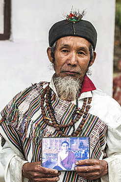 Naphe Lepcha, 70, is a Bhom Thing (a dhami who channelize nature), Sikkim, India, Asia
