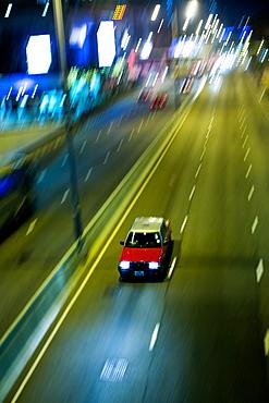 Taxi at night, Hong Kong, China, Asia