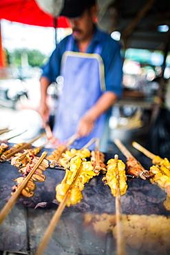 Satay at market, Phuket, Thailand, Southeast Asia, Asia