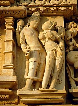 Vishnu and Lakshami, sculptures on the Parshvinath (Parsvanath) Temple, Jain Group, Khajuraho, Madhya Pradesh State, India