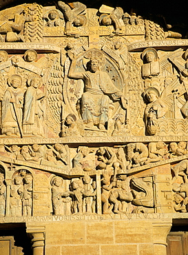 Tympanum above west door of abbey church of Ste. Foy (on the pilgrimage route to Santiago de Compostela) of Christ and the Last Judgement, UNESCO World Heritage Site, Conques, Midi-Pyrenees, France, Europe