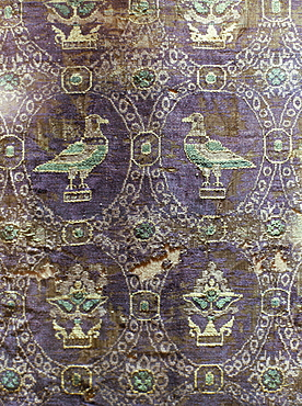 Byzantine silk textiles dating from 10th century, Treasury of Ste. Foy, Conques, Midi-Pyrenees, France, Europe