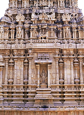 Finely sculpted base of 17th century shrine to Subrahmanya, a son of Shiva, in courtyard of Brihadishvara Temple, Thanjavur (Tanjore), Tamil Nadu state, India, Asia