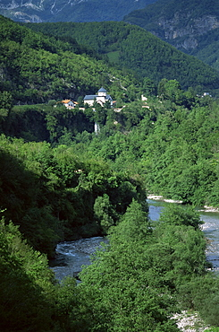 Moraca Monastery, founded in 1252, and Svetigora (Holy Mountain) waterfall, Montenegro, Europe