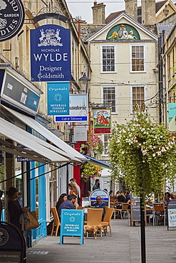 Historic architecture and a street scene in the historic heart of Bath, Somerset, England, United Kingdom, Europe