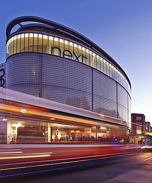 A dusk view of a department store in Exeter, Devon, England, United Kingdom, Europe