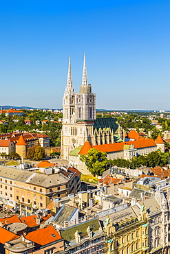 View of the Cathedral of the Assumption of the Blessed Virgin Mary, Zagreb, Croatia, Europe