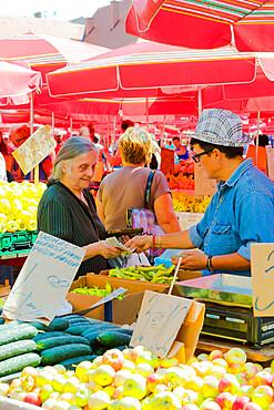 Market vendor in Dolac, market square, Zagreb, Croatia, Europe