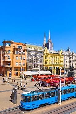 View of Ban Jelacic Square, Zagreb, Croatia, Europe