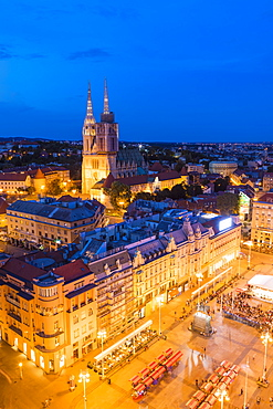 View of Ban Jelacic Square and Cathedral of the Assumption Blessed Virgin Mary at night, Zagreb, Croatia, Europe
