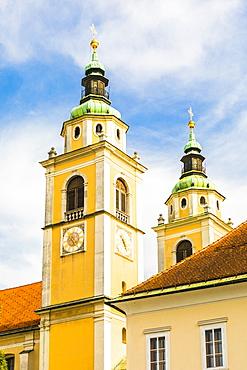 The bell towers of Saint Nicholas Cathedral, Ljubljana, Slovenia, Europe