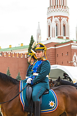 A Russian soldier in Red Square, Moscow, Russia, Europe