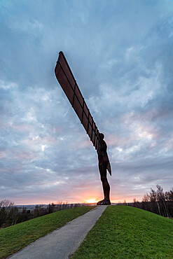 Antony Gormley's Angel of the North at sunset, Gateshead, Tyne and Wear, England, United Kingdom, Europe