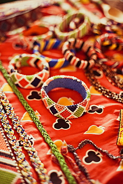 Detail of the beadworks created by the women's groups in Kenya, East Africa, Africa