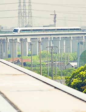 The Maglev train shuttle arriving at Shanghai airport, Shanghai, China, Asia