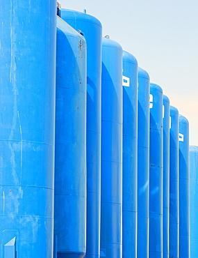 Gas or oil storage tanks, Aberdeen, Scotland, United Kingdom, Europe
