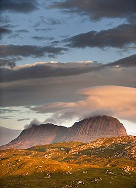 The distinct shape of Stac Pollaidh mountain in Assynt, Sutherland in the Highlands of Scotland, United Kingom, Europe
