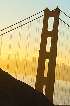 View of San Francisco seen through the Golden Gate Bridge, San Francisco, California, United States of America, North America