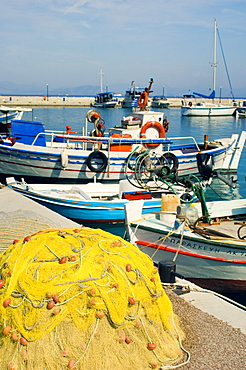Fifhing boats and nets, Corfu, Greece, Europe
